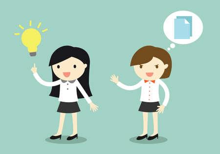 Bedrijfsconcept, zakenvrouw heeft een idee, maar haar collega wil haar idee kopiëren. Vector illustratie