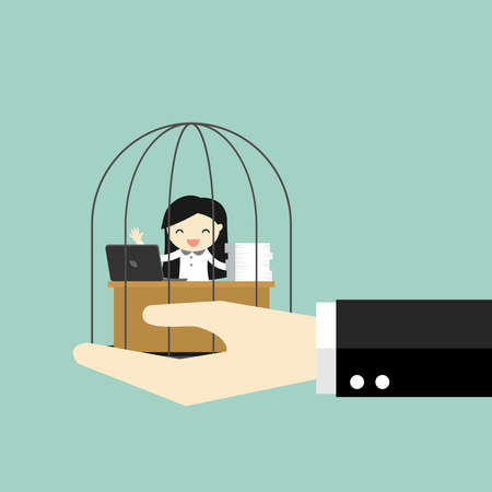 Business concept, Hand holding business woman who enjoys working in the prison. Vector illustration. Illustration