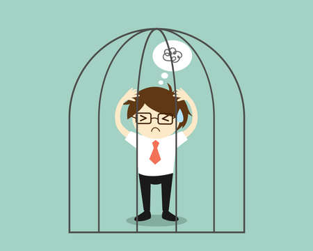 Business concept, Stressed businessman in the jail. Vector illustration.