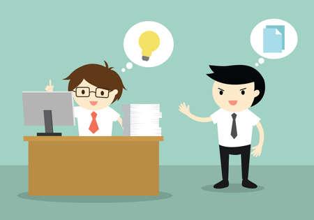 Business concept, Businessman has an idea but his colleague want to copy his idea. Vector illustration. Vettoriali