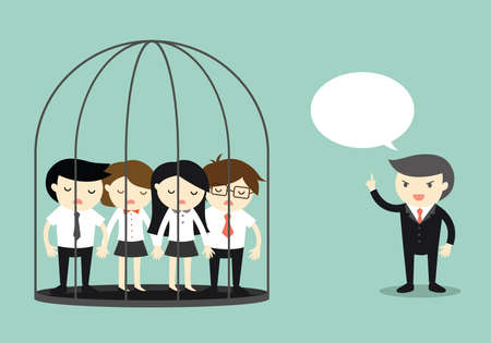 Business concept, Group of business people in the jail while boss standing outside and talking. Vector illustration. Illustration