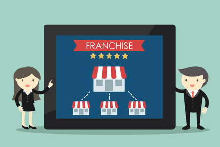 Business concept, Businessman and business woman with franchise business concept. Vector illustration. Illustration