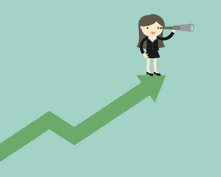 Business concept, Business woman is using her telescope while standing on the up chart. Vector illustration. Illustration