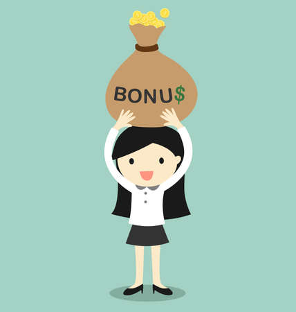 Business concept, Business woman holding bonus and feeling happy. Vector illustration.