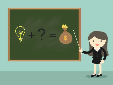 Business concept, Business woman standing in front of green chalkboard and present about business idea/concept. Vector illustration.