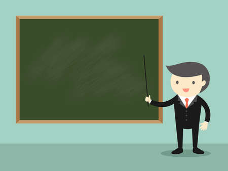 Business concept, Businessman standing in front of green chalkboard. Vector illustration.