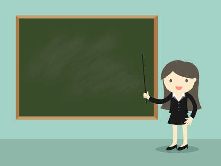 Business concept, Business woman standing in front of green chalkboard. Vector illustration.