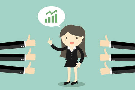 Business concept, business woman talking about growth graph and get good feedback. Vector illustration.