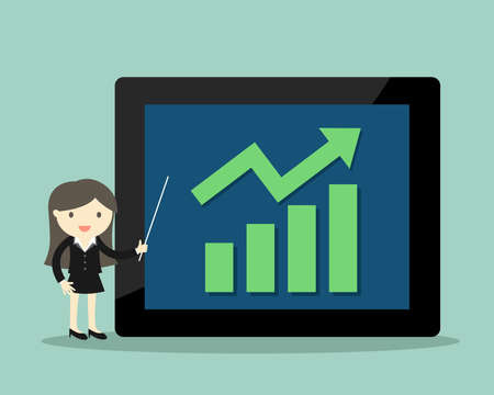 Business concept, Business woman presents about growth graph on the big tablet. Vector illustration.