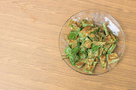 Thai food, Acacia Pennata Omelette Stock Photo