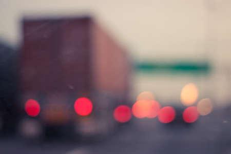 Defocused or blur traffic road with bokeh light Stock Photo