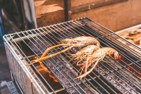 Grilled shrimp on the stove.