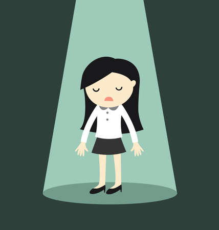Business concept, Business woman standing alone in spotlight. Vector illustration. Illustration