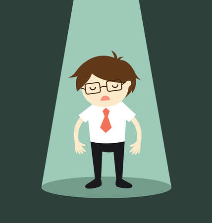 Business concept, Businessman standing alone in spotlight. Vector illustration.