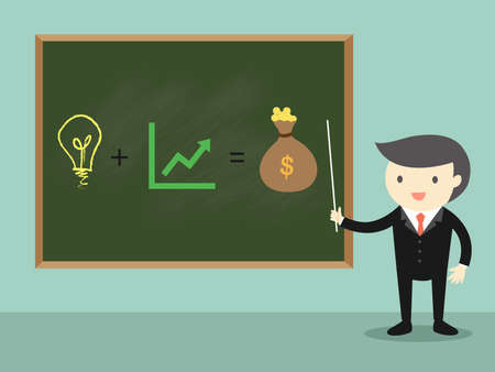 Business concept, Businessman standing in front of green chalkboard and present about business ideaconcept. Vector illustration. Illustration
