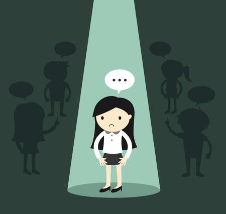 Business concept, Business woman standing alone in spotlight and feeling awkward. Vector illustration.