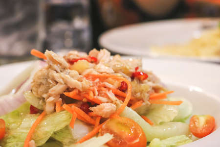 Close up of Tuna spicy salad in the restaurant. Stock Photo