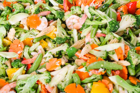 Close up of stir fried vegetables. Stock Photo