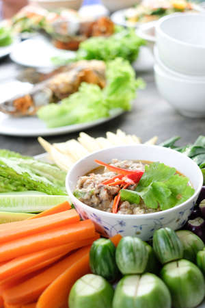 Thai food, Fried mackerel with shrimp paste sauce and vegetable. Stock Photo