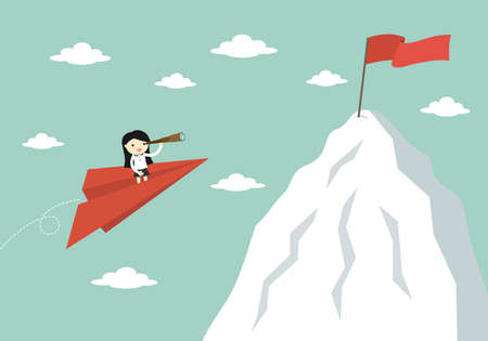 Business concept, Business woman is flying to the top of mountain while using telescope. Vector illustration.