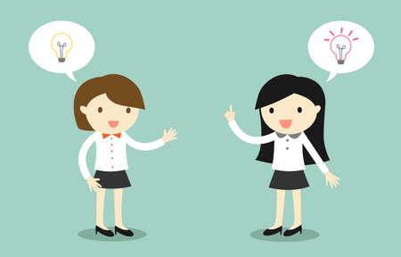 Business concept, two businesswomen talking about different ideas. Vector illustration. Banque d'images - 127320911
