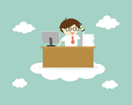 Business concept, businessman is working on the cloud, cloud computing concept. Vector illustration. Stock Illustratie