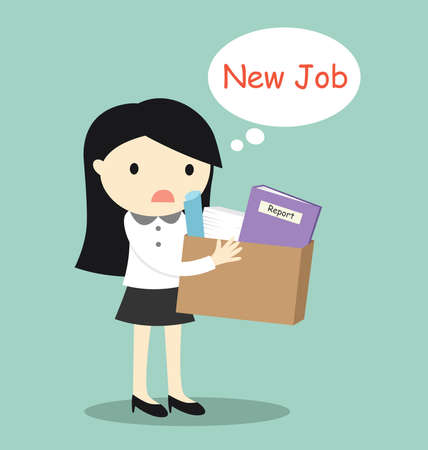Business concept, business woman wants to find new job. Vector illustration.