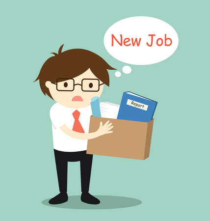 Business concept, businessman wants to find new job. Vector illustration. Banque d'images - 127320915