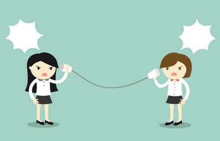 Business concept, Two businesswomen are arguing via cup telephone. Vector illustration.