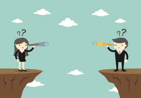 Business concept, Businessman and business woman looking at each other by using their telescope. Vector illustration.