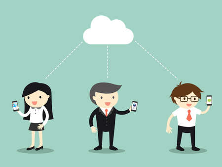 Business concept, business people share data and target via cloud computing. Vector illustration.