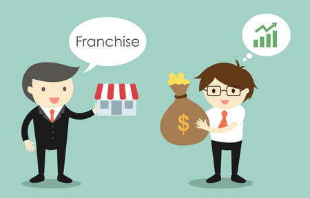 Business concept, Businessman is selling franchise to another businessman. Vector illustration. Illustration