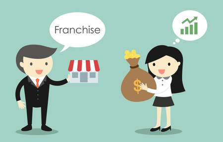 Business concept, Businessman is selling franchise to business woman. Vector illustration.