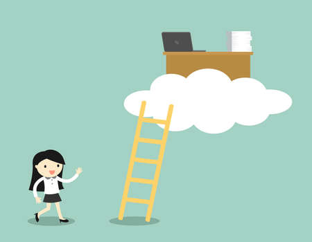 Business concept, business woman is walking to office desk on the cloud, cloud computing concept. Vector illustration.