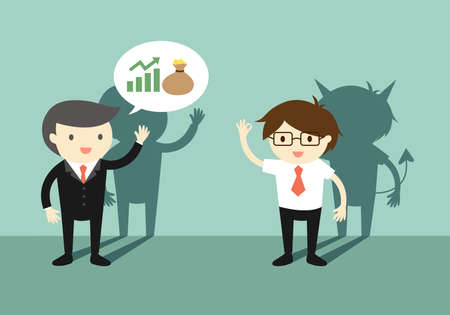 Businessman talking about investment with another man, but he is an untrustable person. Vector illustration.