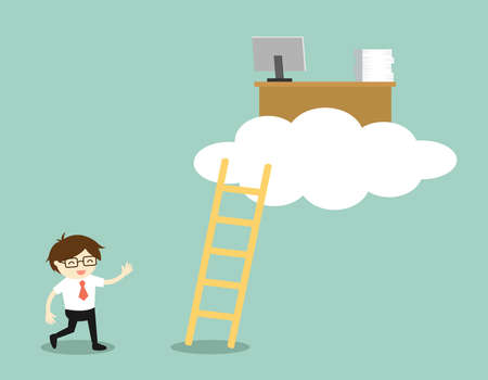 Business concept, businessman is walking to office desk on the cloud, cloud computing concept. Vector illustration.