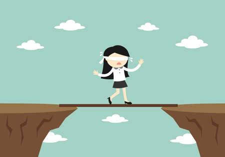 Business concept, Blindfolded business woman is walking on a small board to another cliff. Vector illustration.