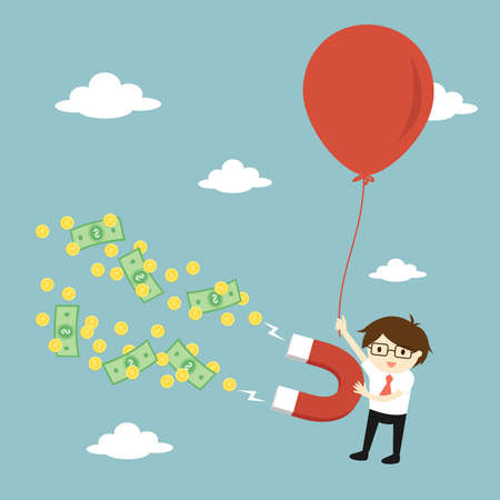Business concept, Businessman attracting money with a large magnet while flying with big balloon. Vector illustration.