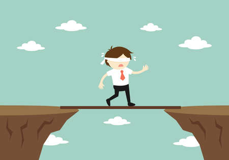 Business concept, Blindfolded businessman is walking on a small board to another cliff. Vector illustration. Stock Illustratie