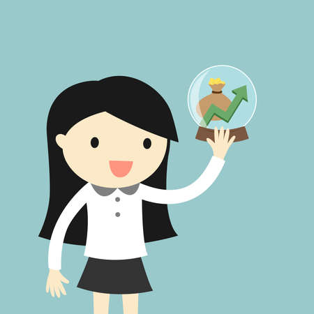 Business woman is holding crystal ball with growth graph and money inside. Vector illustration.