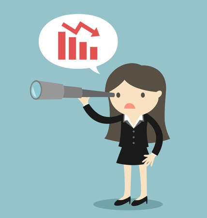 Business concept, BossBusiness woman using her telescope looking and talk about burndown chart. - Vector