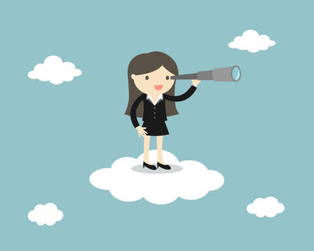 Business woman standing on the cloud with a telescope. Vector illustration.