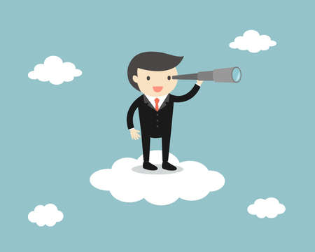 Businessman standing on the cloud with a telescope. Vector illustration.