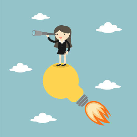 Business woman standing on the light bulb with a telescope. Vector illustration.