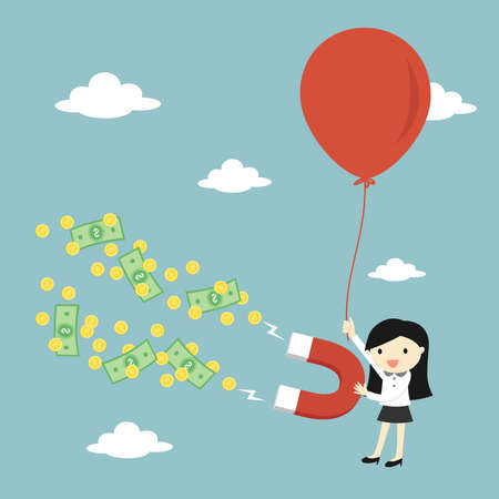 Business concept, Business woman attracting money with a large magnet while flying with big balloon. Vector illustration.