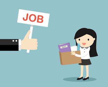 Bedrijfsconcept, Hand biedt baan aan zakenvrouw. Vector illustratie. Vector Illustratie