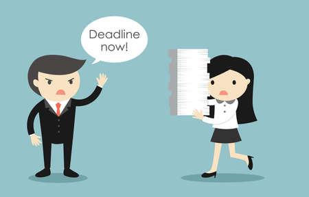Business concept, Business woman stressed about deadline. Vector illustration.