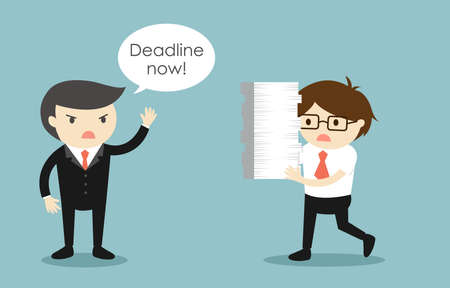 Business concept, Businessman stressed about deadline. Vector illustration. Illustration