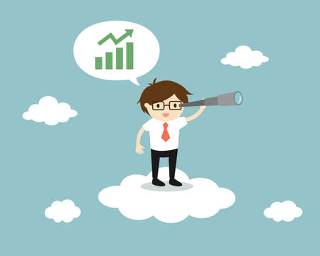 Businessman standing on the cloud with a telescope and looking for opportunity. Vector illustration. Banque d'images - 129845326
