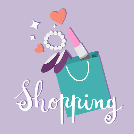 Shopping bag with makeup and accessories in flat style. Vector illustration.